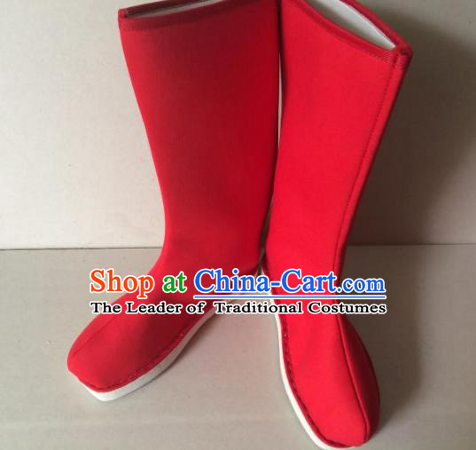 Traditional Handmade Chinese Peking Opera Takefu Red Cloth Boots Hanfu Shoes for Men