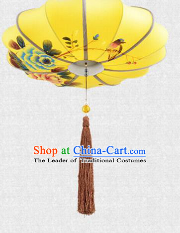 Traditional Chinese Handmade Painting Birds Peony Cloth Palace Lantern China Ceiling Palace Lamp
