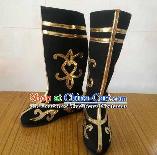 Traditional Chinese Ancient Peking Opera Takefu Embroidered Boots, China Handmade Hanfu Black Embroidery Shoes for Men