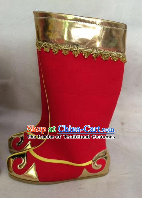 Traditional Chinese Ancient Peking Opera Takefu Embroidered Boots, China Handmade Hanfu Red Embroidery Shoes for Men