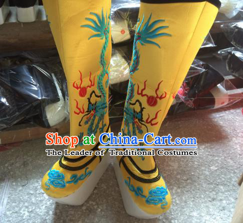 Traditional Chinese Ancient Peking Opera Emperor Embroidered Boots, China Handmade Hanfu Yellow Embroidery Shoes for Men