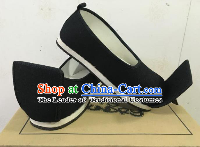 Traditional Chinese Ancient Han Dynasty Black Cloth Shoes, China Handmade Hanfu Shoes for Men