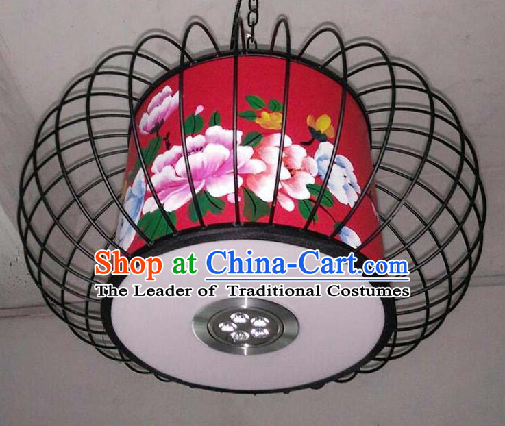 Traditional Chinese Handmade Painting Flowers Red Palace Lantern China Ceiling Palace Lamp