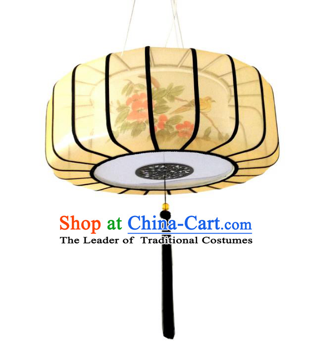 Traditional Chinese Handmade Painting Flowers Sheepskin Palace Lantern China Ceiling Palace Lamp