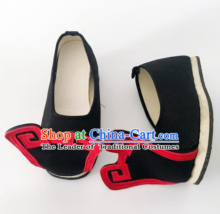 Traditional Chinese Ancient Han Dynasty Wedding Embroidered Shoes, China Handmade Hanfu Embroidery Black Shoes for Men