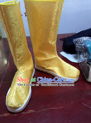 Traditional Chinese Ancient Golden Officer Boots, China Handmade Peking Opera Hanfu Embroidery Shoes for Men