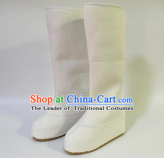 Traditional Chinese Ancient White Cloth Officer Boots, China Handmade Peking Opera Swordsman Hanfu Embroidery Shoes for Men