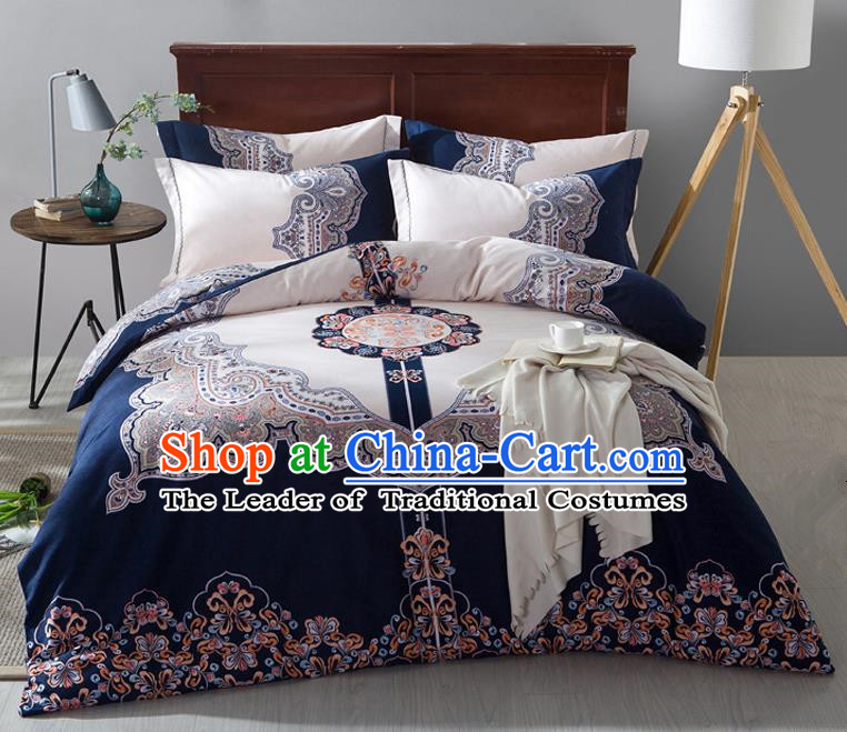 Traditional Chinese Style Wedding Bedding Set, China National Marriage Printing Blue Textile Bedding Sheet Quilt Cover Four-piece suit