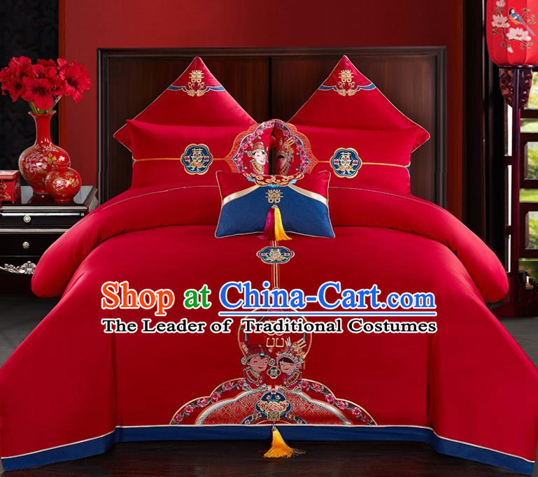Traditional Chinese Style Wedding Bedding Set, China National Marriage Printing Peking Opera Red Textile Bedding Sheet Quilt Cover Four-piece suit
