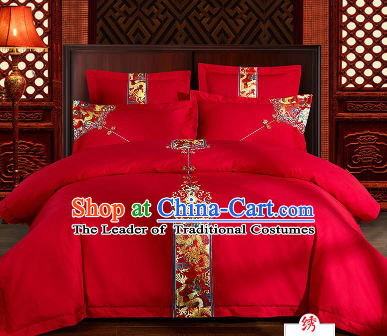 Traditional Chinese Style Marriage Bedding Set, China National Embroidered Dragon Wedding Red Textile Bedding Sheet Quilt Cover Four-piece suit