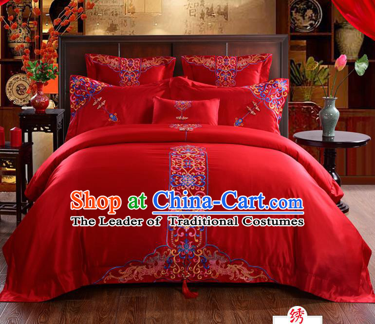 Traditional Chinese Style Marriage Bedding Set, China National Embroidered Flowers Wedding Red Textile Bedding Sheet Quilt Cover Four-piece suit