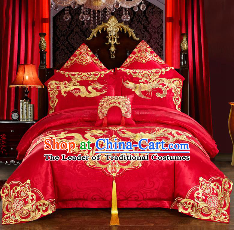 Traditional Chinese Style Marriage Bedding Set Printing Dragon and Phoenix Wedding Red Textile Bedding Sheet Quilt Cover 11-piece Suit