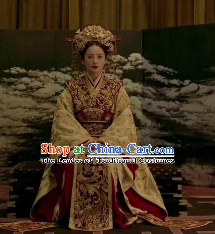 Traditional Chinese Tang Dynasty Imperial Empress Embroidered Trailing Costume and Headpiece Complete Set for Women