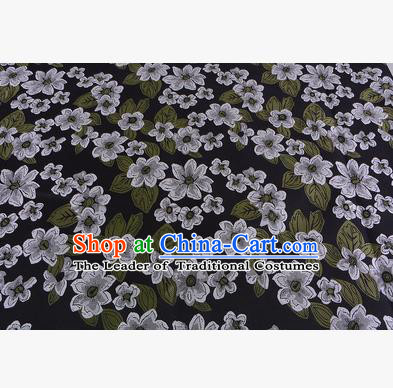 Chinese Traditional Costume Royal Palace Printing White Flowers Brocade Fabric, Chinese Ancient Clothing Drapery Hanfu Cheongsam Material