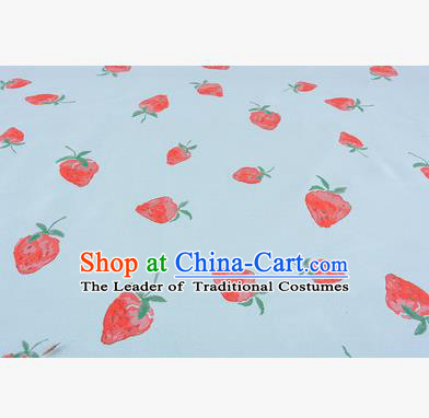 Chinese Traditional Costume Royal Palace Strawberry Pattern Green Fabric, Chinese Ancient Clothing Drapery Hanfu Cheongsam Material