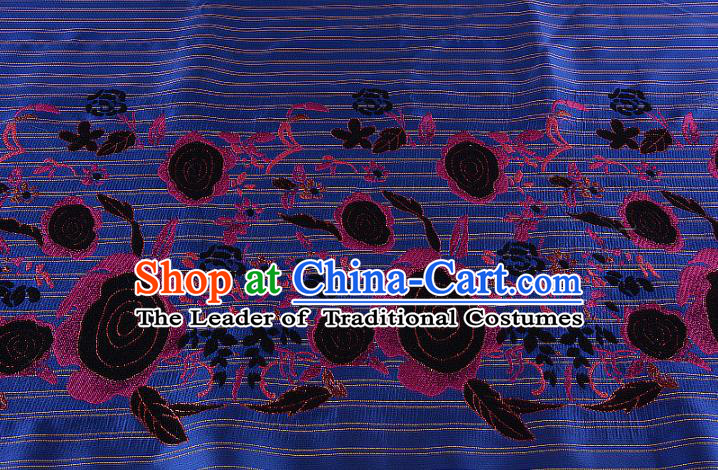 Chinese Traditional Costume Royal Palace Printing Rose Deep Blue Brocade Fabric, Chinese Ancient Clothing Drapery Hanfu Cheongsam Material