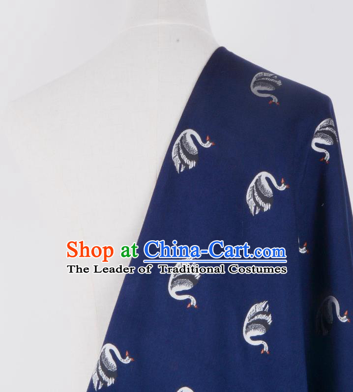 Chinese Traditional Costume Royal Palace Printing Swan Deep Blue Brocade Fabric, Chinese Ancient Clothing Drapery Hanfu Cheongsam Material