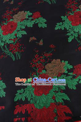 Chinese Traditional Costume Royal Palace Printing Red Peony Pattern Black Brocade Fabric, Chinese Ancient Clothing Drapery Hanfu Cheongsam Material