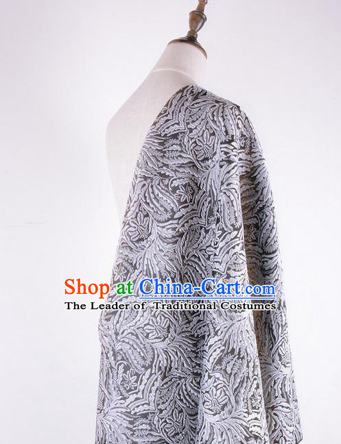 Chinese Traditional Costume Royal Palace Pattern Grey Brocade Fabric, Chinese Ancient Clothing Drapery Hanfu Cheongsam Material