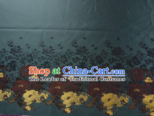 Chinese Traditional Costume Royal Palace Printing Flowers Pattern Deep Green Brocade Fabric, Chinese Ancient Clothing Drapery Hanfu Cheongsam Material
