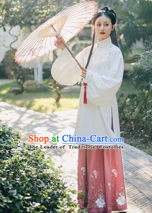 Traditional Chinese Ancient Ming Dynasty Palace Lady Princess Embroidered Mangnolia Costume Blouse and Skirt Complete Set for Women