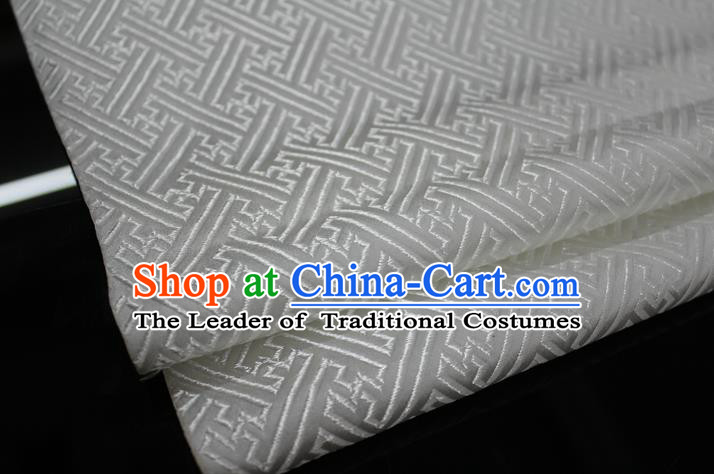 Chinese Traditional Costume Royal Palace Pattern Mongolian Robe White Brocade Fabric, Chinese Ancient Clothing Drapery Hanfu Cheongsam Material