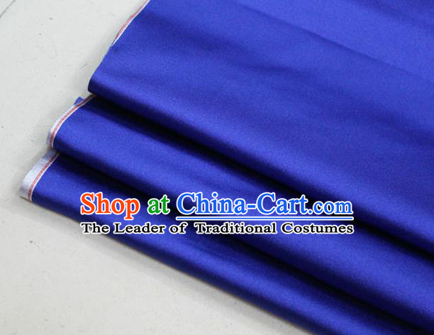 Chinese Traditional Royal Palace Mongolian Robe Royalblue Satin Brocade Fabric, Chinese Ancient Costume Drapery Hanfu Cheongsam Material