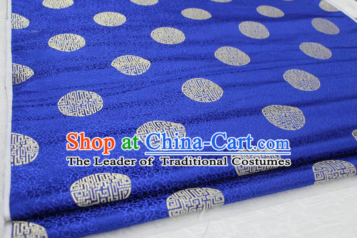 Chinese Traditional Royal Palace Longevity Pattern Mongolian Robe Royalblue Brocade Fabric, Chinese Ancient Costume Drapery Hanfu Tang Suit Material