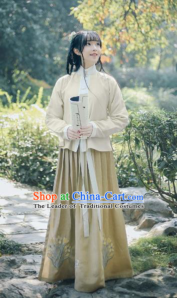 Traditional Chinese Ancient Ming Dynasty Hanfu Princess Costume Embroidered Magnolia Blouse and Skirt Complete Set for Women