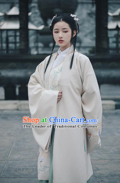 Traditional Chinese Ancient Ming Dynasty Nobility Lady Cloak Princess Hanfu Costume Embroidered Cape for Women