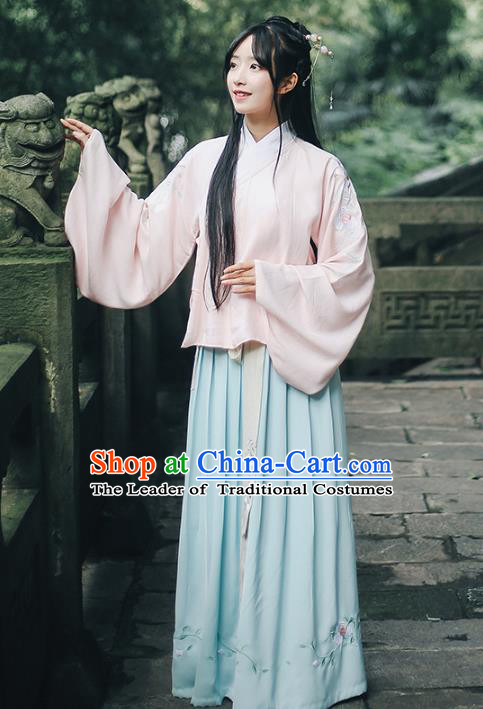 Traditional Chinese Ming Dynasty Nobility Lady Ancient Princess Hanfu Costume Embroidered Paeonia Lactiflora Blouse and Skirt for Women