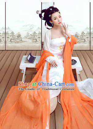 Traditional Ancient Chinese Costume, Costumes Elegant Hanfu Clothing Chinese Tang Dynasty Imperial Emperess Tailing Embroidered Clothing for Women
