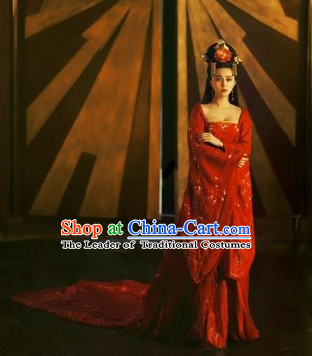 Traditional Ancient Chinese Costume, Costumes Elegant Hanfu Clothing Chinese Tang Dynasty Imperial Emperess Chiffon Red Dance Clothing for Women