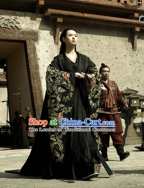 Traditional Ancient Chinese Costume, Elegant Hanfu Clothing, Chinese Han Dynasty Imperial Emperess Tailing Black Embroidered Clothing for Women