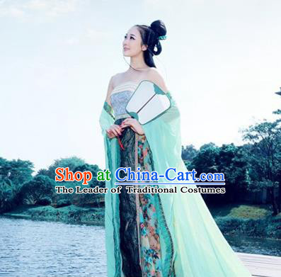 Traditional Ancient Chinese Imperial Consort Costume, Elegant Hanfu Clothing Chinese Tang Dynasty Imperial Emperess Full Sleeve Embroidered Clothing for Women
