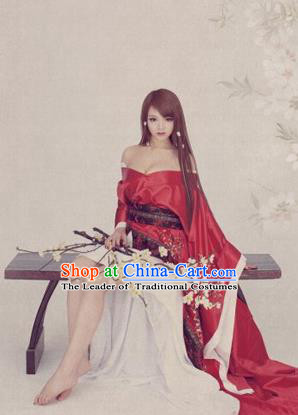 Traditional Ancient Chinese Imperial Consort Sexy Costume, Elegant Hanfu Clothing Chinese Han Dynasty Imperial Emperess Tailing Clothing for Women