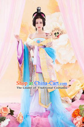 Traditional Ancient Chinese Imperial Consort Sexy Costume, Elegant Hanfu Tube Dress Clothing Chinese Han Dynasty Imperial Emperess Tailing Clothing for Women