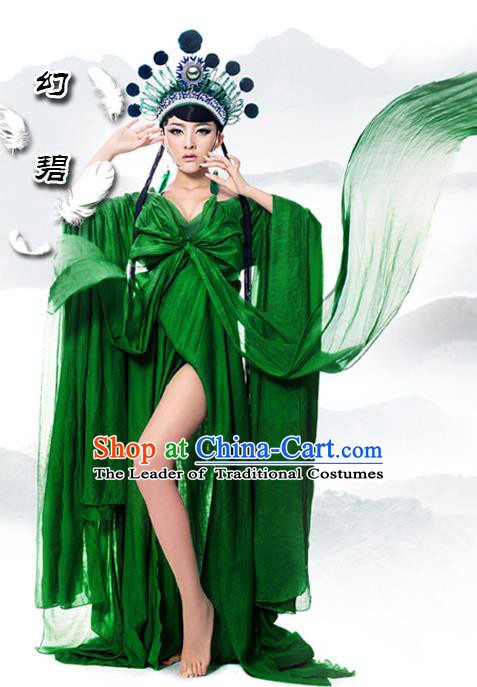 Traditional Ancient Chinese Imperial Consort Sexy Costume, Elegant Hanfu Green Dress Chinese Han Dynasty Imperial Emperess Clothing for Women