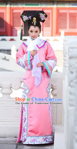 Traditional Ancient Chinese Imperial Consort Costume, Elegant Manchu Clothing Chinese Qing Dynasty Imperial Emperess Embroidered Clothing for Women