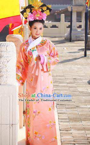 Traditional Ancient Chinese Imperial Consort Costume, Elegant Manchu Lady Clothing Chinese Qing Dynasty Imperial Princess Embroidered Clothing for Women for Men