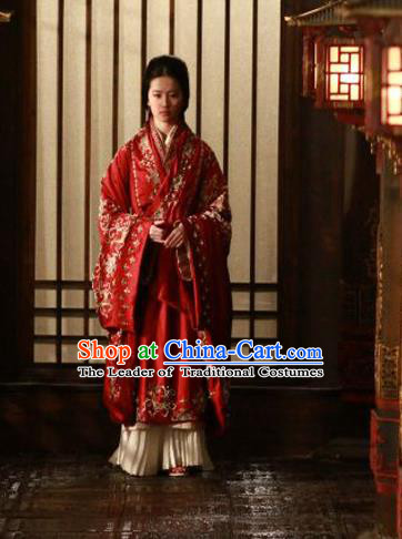 Traditional Ancient Chinese Imperial Consort Wedding Costume, Elegant Hanfu Red Clothing Chinese Han Dynasty Imperial Emperess Tailing Embroidered Clothing for Women