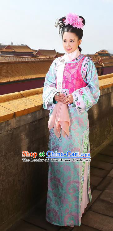 Traditional Ancient Chinese Imperial Consort Costume, Chinese Qing Dynasty Manchu Palace Lady Dress, Cosplay Chinese Mandchous Imperial Princess Embroidered Clothing for Women
