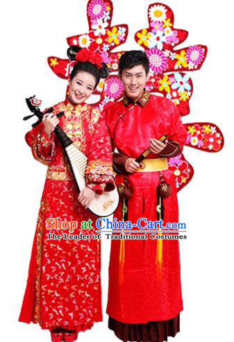 Traditional Ancient Chinese Manchu Wedding Costume, Chinese Qing Dynasty Manchu Wedding Dress, Cosplay Chinese Mandchous Imperial Princess Embroidered Clothing for Women for Men