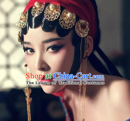 Traditional Handmade Chinese Ancient Classical Peking Opera Hair Accessories Set, Bride Wedding Hair Sticks, Hair Fascinators Hairpins for Women