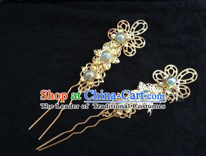 Traditional Handmade Chinese Ancient Classical Hair Accessories Blue Pearl Hairpin, Hair Sticks Hair Jewellery, Hair Fascinators Hairpins for Women
