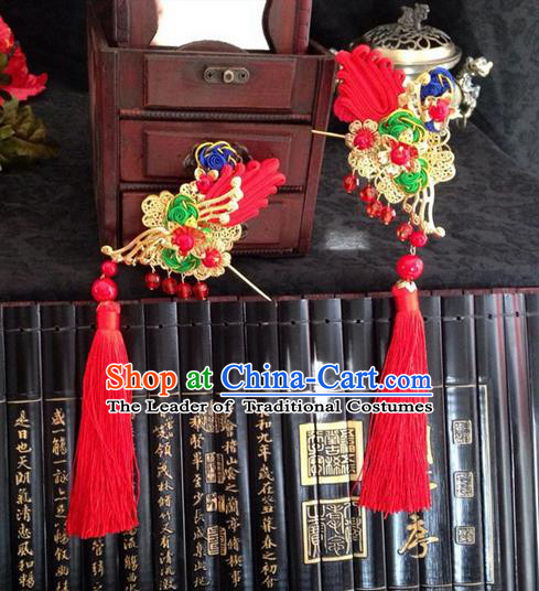 Chinese Wedding Jewelry Accessories Traditional Xiuhe Suits Wedding Bride Headwear Wedding Tiara Ancient Chinese Red Tassel Harpins for Women