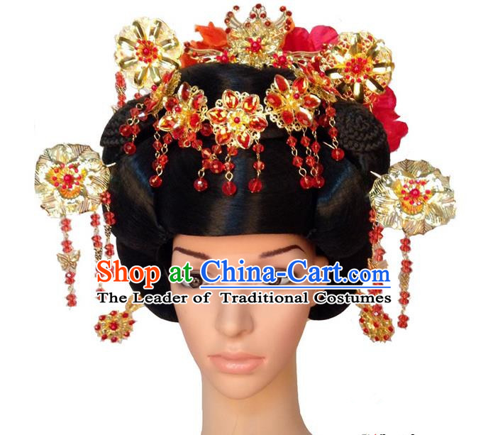 Chinese Wedding Jewelry Accessories Traditional Xiuhe Suits Wedding Bride Headwear, Wedding Hair Accessories, Ancient Chinese Peony Flower Harpins Complete Set for Women