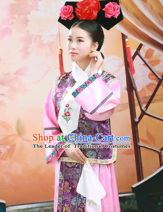 Traditional Ancient Chinese Imperial Princess Costume, Chinese Qing Dynasty Manchu Dress, Cosplay Chinese Mandchous Imperial Princess Clothing for Women