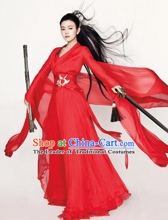 Ancient Chinese Swordsman Elegant Red Costumes Han Dynasty Clothing for Women