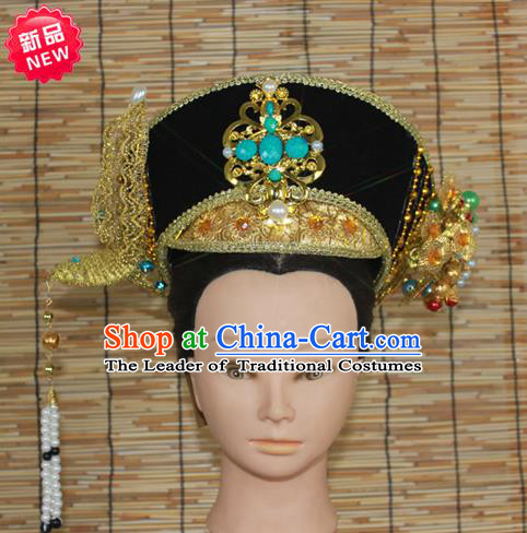 Traditional Handmade Chinese Ancient Classical Hair Accessories Qing Dynasty Manchu Princess Hairpin, Manchu Empress Phoenix Coronet, Wedding Hair Jewellery, Hair Fascinators Hairpins Complete Set for Women